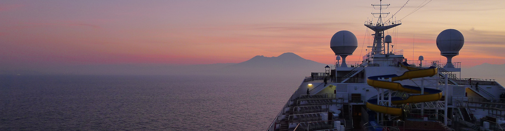 Cruise Ship view of Mount Vesuvius at the golden hour after a beautiful Shore Excursion