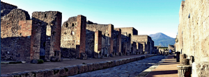 Pompeii Street with Mount Vesuvius